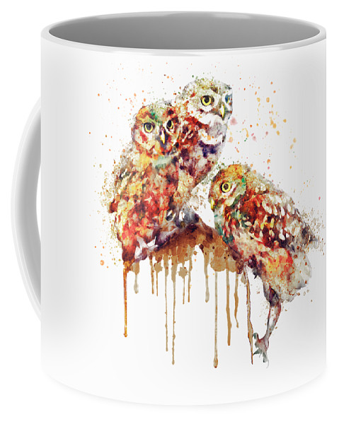 Cute Coffee Mug featuring the painting Three Cute Owls Watercolor by Marian Voicu