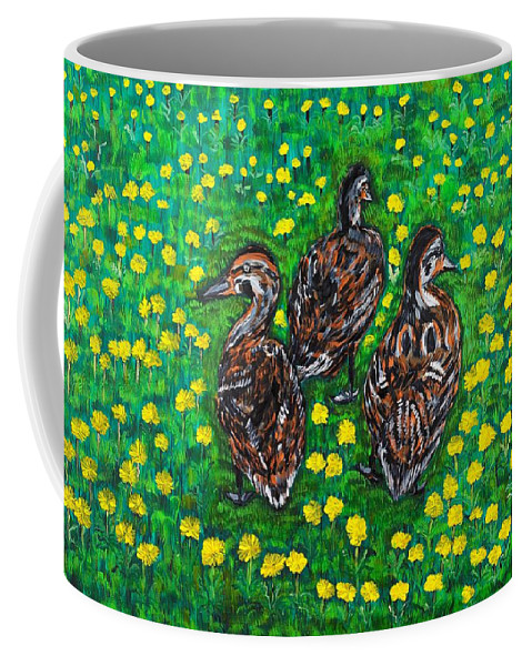 Bird Coffee Mug featuring the painting Three Ducklings by Valerie Ornstein