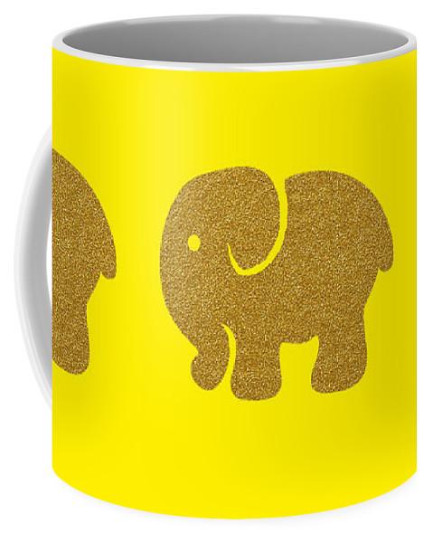 Shape Coffee Mug featuring the digital art Three Elephants by Art Spectrum