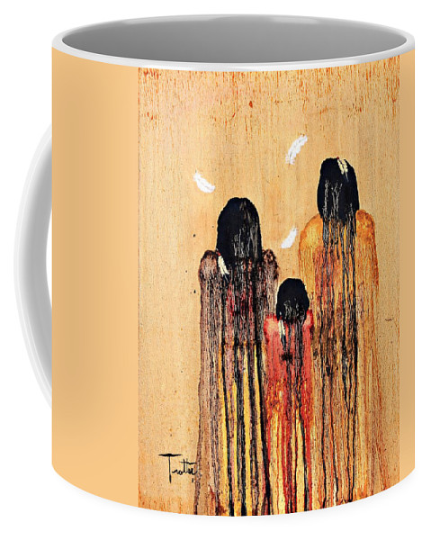 Art Coffee Mug featuring the painting Three Feathers by Patrick Trotter