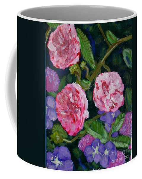 Roses Coffee Mug featuring the painting Three For The Show by Laurie Morgan