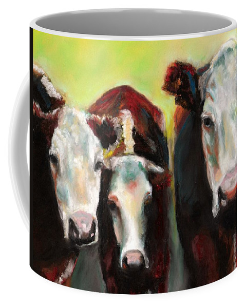 Cows Coffee Mug featuring the painting Three Generations Of Moo by Frances Marino