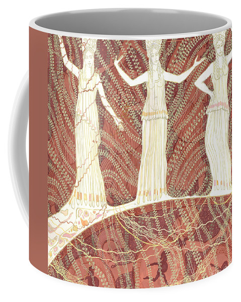 Greece Cariatides And Bacchantes Terracotta And White Decorative Painting Coffee Mug