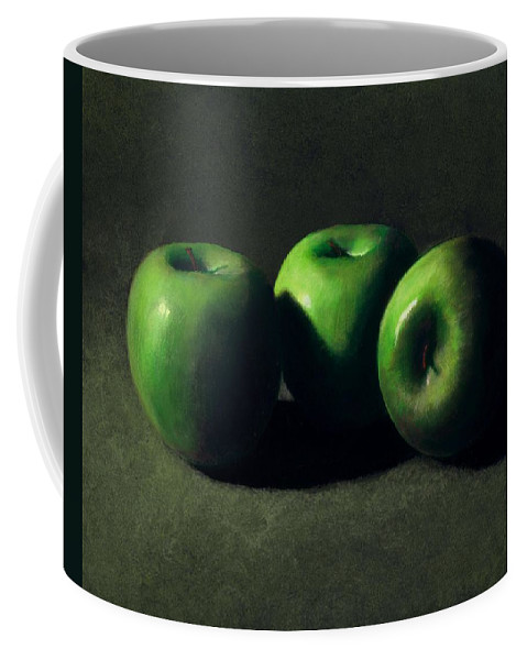 Still Life Coffee Mug featuring the painting Three Green Apples by Frank Wilson