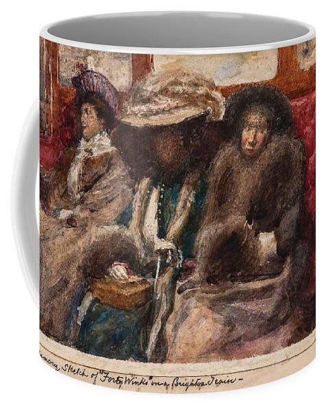 Charles Gogin (1844-1931) Three Ladies On Carriage Coffee Mug featuring the digital art Three Ladies On Carriage by Mark Carlson