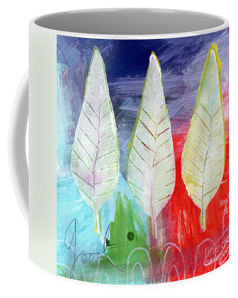 Abstract Coffee Mug featuring the painting Three Leaves Of Good by Linda Woods