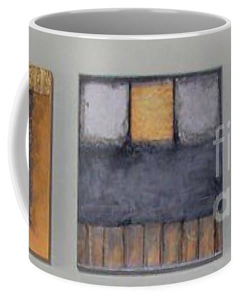 Metallic Coffee Mug featuring the mixed media Three Little Bigs by Marlene Burns