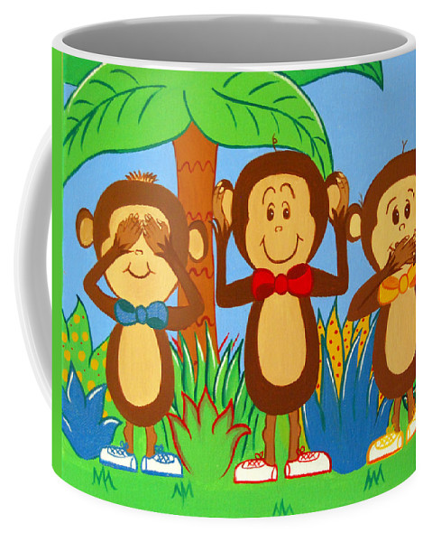 Monkeys Coffee Mug featuring the painting Three Monkeys No Evil by Valerie Carpenter