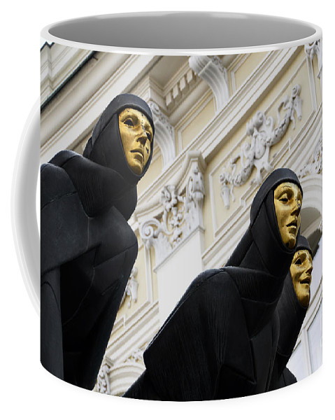 Sculpture Coffee Mug featuring the photograph Three Muses On The Lithuanian National Dramatic Theatre In Vilnius by RicardMN Photography