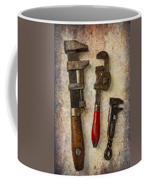 Old Monkey Wrench Coffee Mug featuring the photograph Three Old Worn Wrenches by Garry Gay
