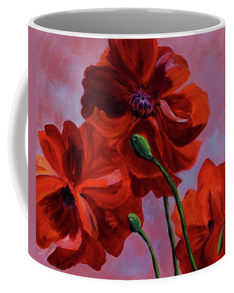 Floral Coffee Mug featuring the painting Three Oriental Poppies by Donna Drake