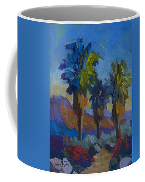 Palm Springs Coffee Mug featuring the painting Three Palms At Palm Desert by Diane McClary