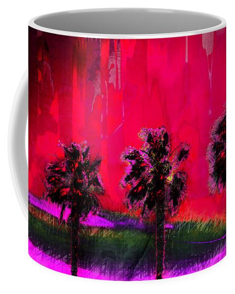 Palms Coffee Mug featuring the digital art Three Palms II by Ronald Bolokofsky