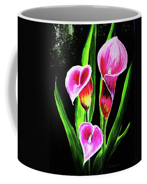 Calla Lily Coffee Mug featuring the painting Three Pink Calla Lilies. by Patricia L Davidson