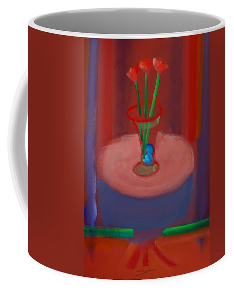 Poppies Coffee Mug featuring the painting Three Poppies In A Vase by Charles Stuart
