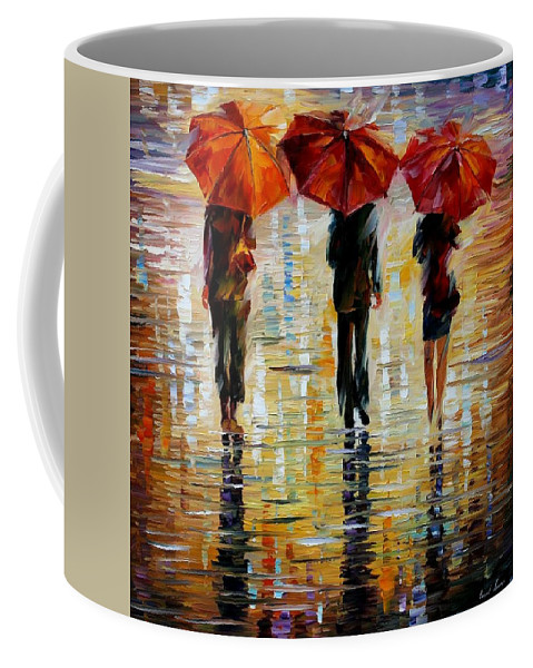 Cityscape Coffee Mug featuring the painting Three Red Umbrella by Leonid Afremov