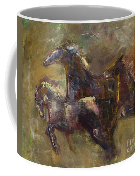 Horses Coffee Mug featuring the painting Three Set Free by Frances Marino