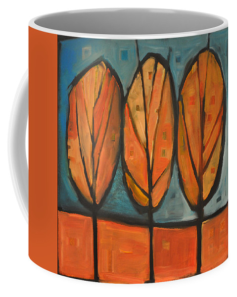 Trees Coffee Mug featuring the painting Three Sisters Fall by Tim Nyberg
