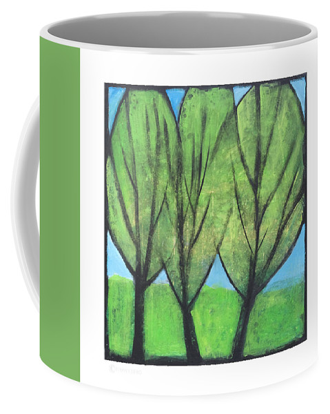 Trees Coffee Mug featuring the painting Three Sisters by Tim Nyberg