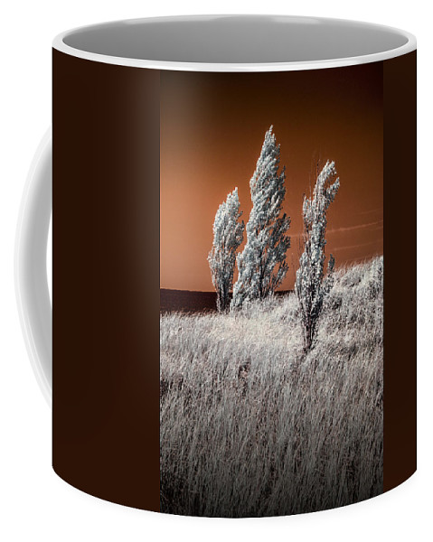 Dune Coffee Mug featuring the photograph Three Trees In Infrared On Top Of A Grassy Dune by Randall Nyhof