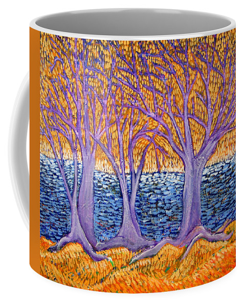 Landscape Coffee Mug featuring the painting Three Trees by Rollin Kocsis