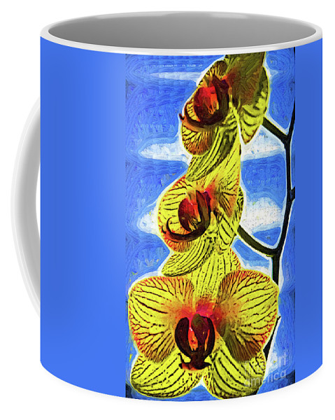 Flowers Coffee Mug featuring the digital art Three Yellow Orchid Blooms by Kirt Tisdale