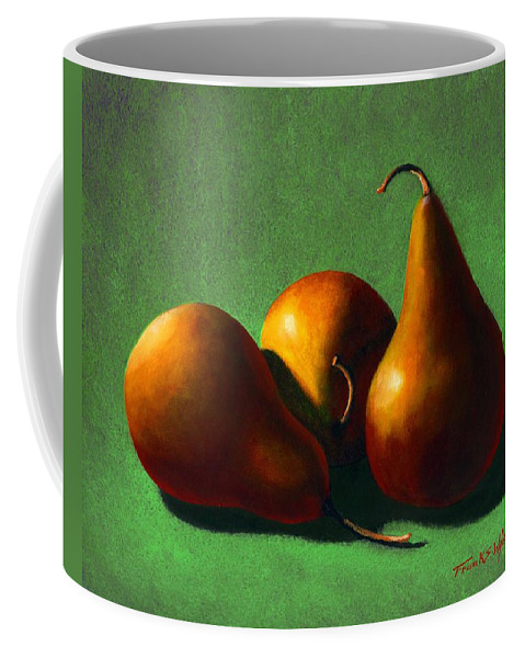 Still Life Coffee Mug featuring the painting Three Yellow Pears by Frank Wilson