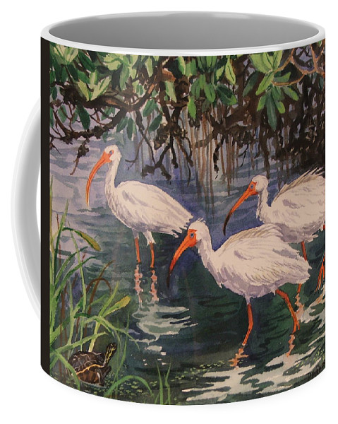 Birds Coffee Mug featuring the painting Three's Company by Dianna Willman