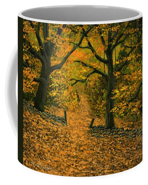 Landscape Coffee Mug featuring the painting Through The Fallen Leaves by Frank Wilson
