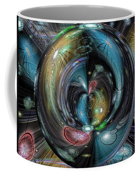 Abstract Coffee Mug featuring the digital art Through The Hoop by Tim Allen