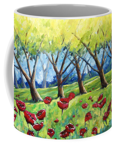 Landscape Coffee Mug featuring the painting Through The Meadows by Richard T Pranke