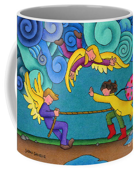 Angels Coffee Mug featuring the drawing Through The Storm by Sarah Batalka