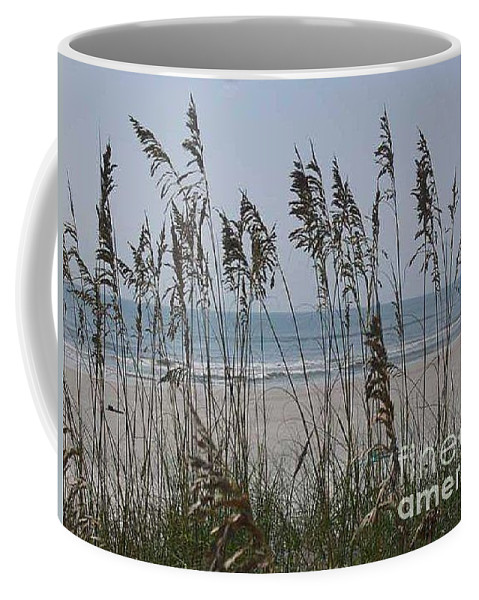 Florida Beach Near St. Augustine Coffee Mug featuring the photograph Thru The Sea Oats by Barb Montanye Meseroll