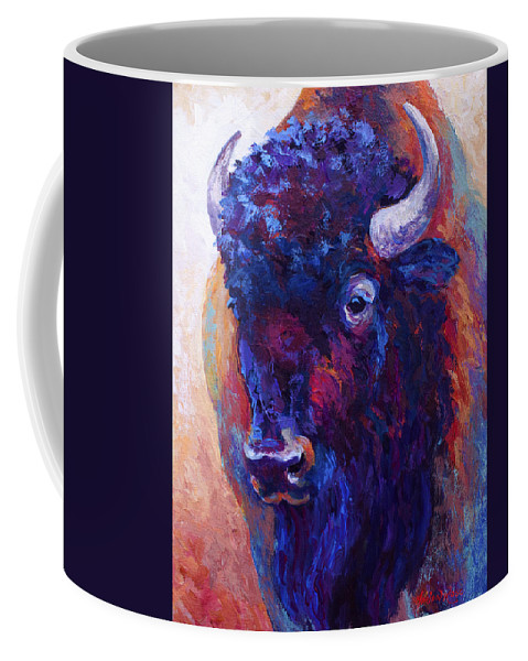 Bison Coffee Mug featuring the painting Thunder Horse by Marion Rose