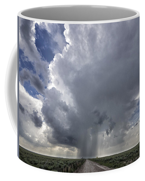 New Mexico Coffee Mug featuring the photograph Thunderstorm And Road by Dan Leffel