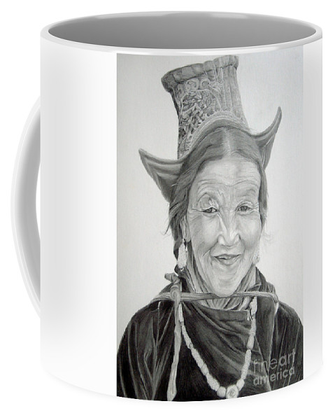 Figurative Art Coffee Mug featuring the drawing Tibetan Delight by Portraits By NC