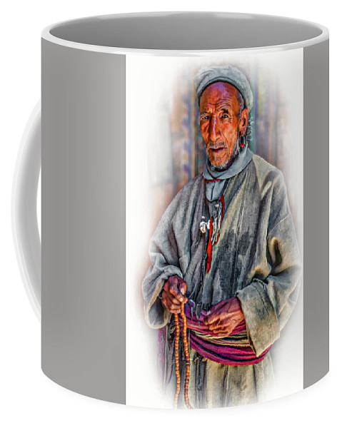 Himalaya Coffee Mug featuring the photograph Tibetan Refugee - Vignette by Steve Harrington