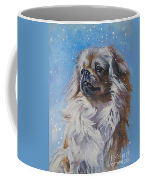 Dog Coffee Mug featuring the painting Tibetan Spaniel In Snow by Lee Ann Shepard