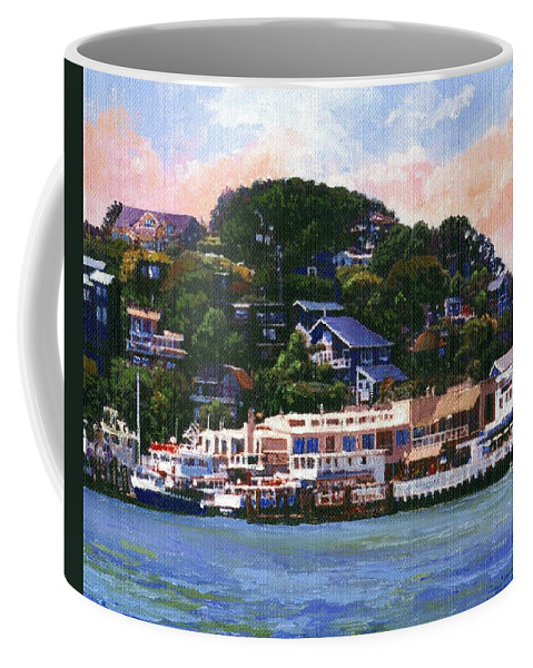 Landscape Coffee Mug featuring the painting Tiburon California Waterfront by Frank Wilson