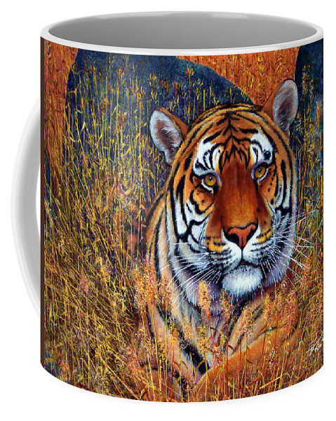 Tiger Coffee Mug featuring the painting Tiger by Frank Wilson