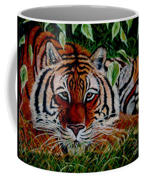 Tiger Coffee Mug featuring the painting Tiger In Jungle by Nick Gustafson