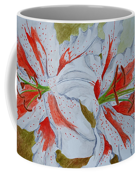 Lilly Red Lilly Tiger Lilly Coffee Mug featuring the painting Tiger Lilly by Herschel Fall