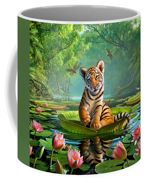 Tiger Coffee Mug featuring the digital art Tiger Lily by Jerry LoFaro