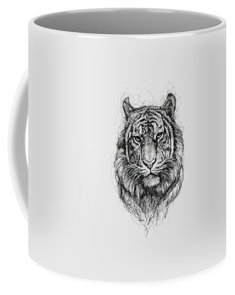 Tiger Coffee Mug featuring the drawing Tiger by Michael Volpicelli