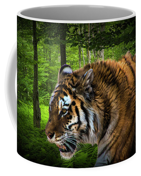 Art Coffee Mug featuring the photograph Tiger On The Prowl by Randall Nyhof