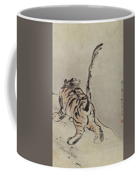 Coffee Mug featuring the painting Tiger Painting by Gao Qipei
