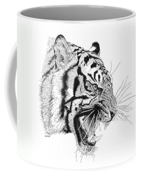 Pen Coffee Mug featuring the drawing Tiger by Scott Woyak