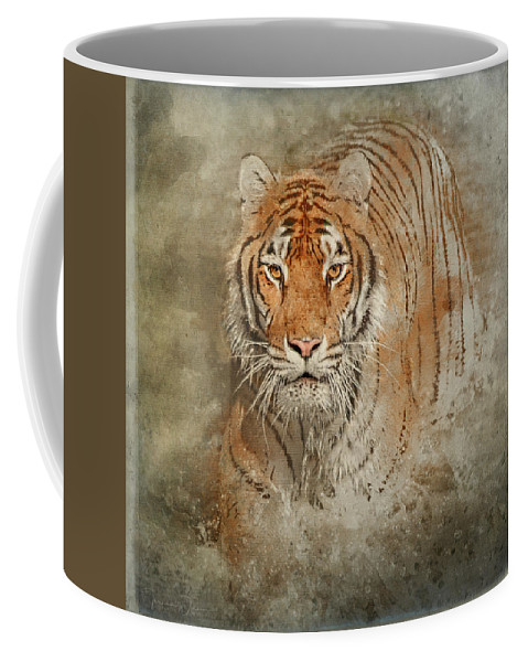 Tl Wilson Photography Coffee Mug featuring the mixed media Tiger Splash by Teresa Wilson