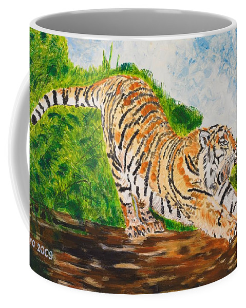 Cat Coffee Mug featuring the painting Tiger Stretching by Valerie Ornstein