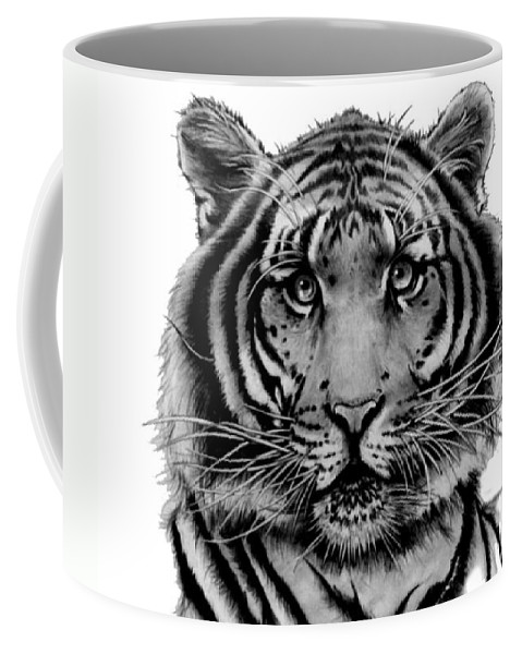 Tiger Coffee Mug featuring the drawing Tiger Tiger by Duke Windsor